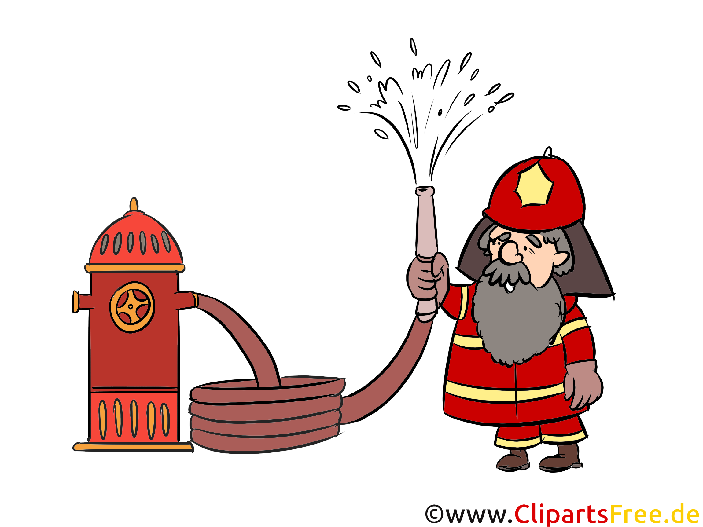 消防署の水スプレー、蛇口、図、コミック、漫画、イメージ