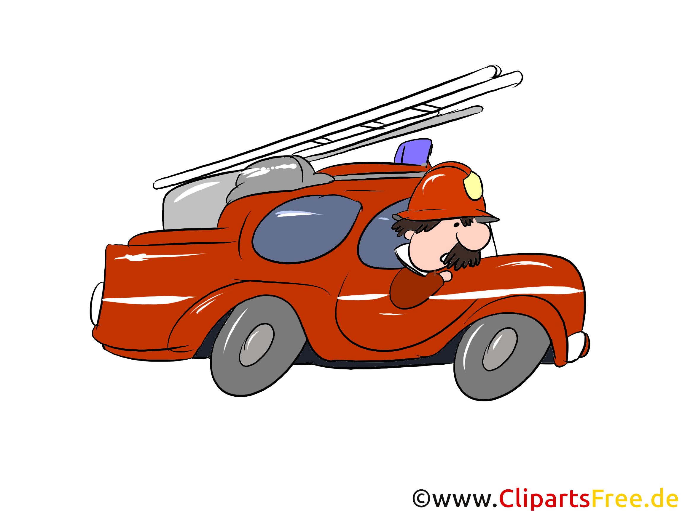 はしごで消防車。クリップアート、イラスト、絵