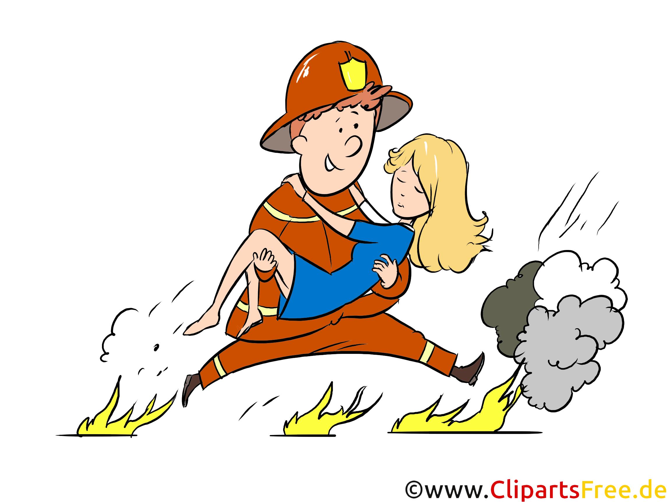 Feuerwehrmann Rettet Eine Frau Illustration Clipart Bild