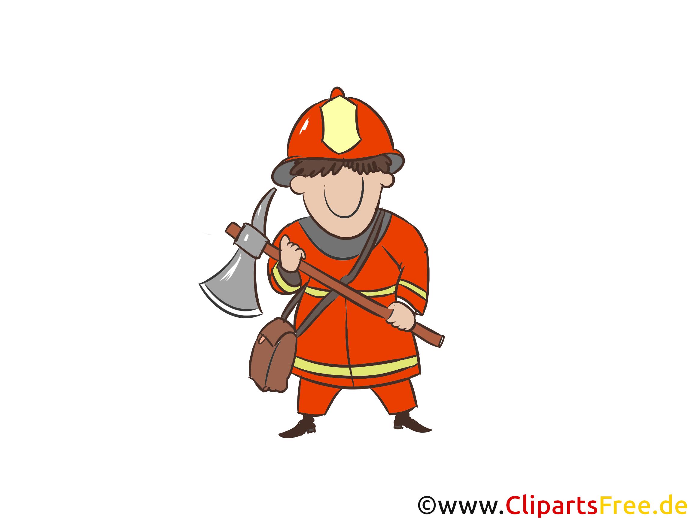 斧、消防署の図、コミック、画像、漫画を持つ男