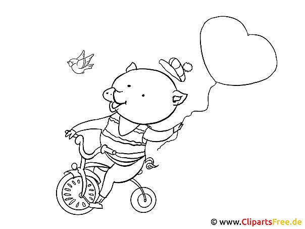 絵画 - 自転車に乗って豚の写真