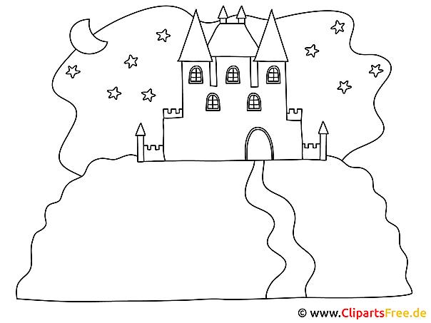 Burg - Malbilder zum Ausdrucken