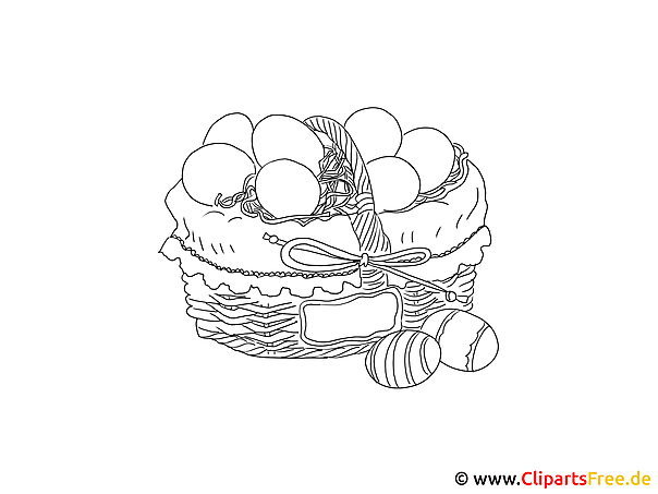 Korb mit Ostereiern Ausmalbild