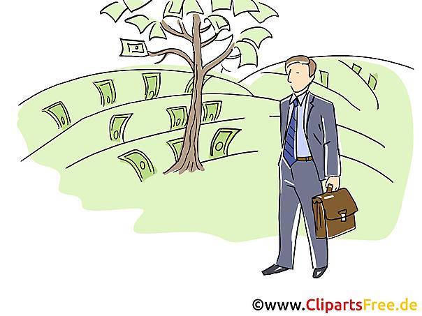 Baum mit Geld Clipart, Grafik, Bild