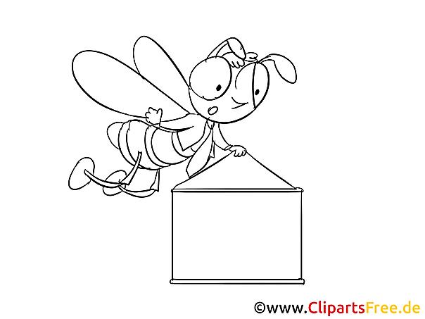 Bee with banner Clip Art, Cartoon