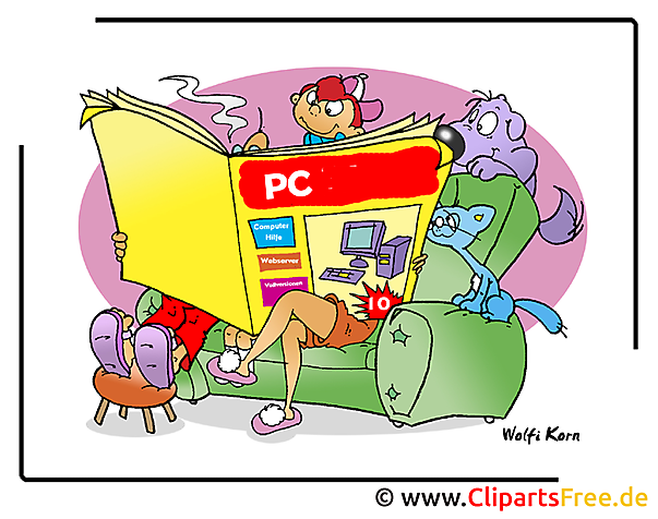 Computerzeitschrift Bild im Cartoonstil - Cliparts free