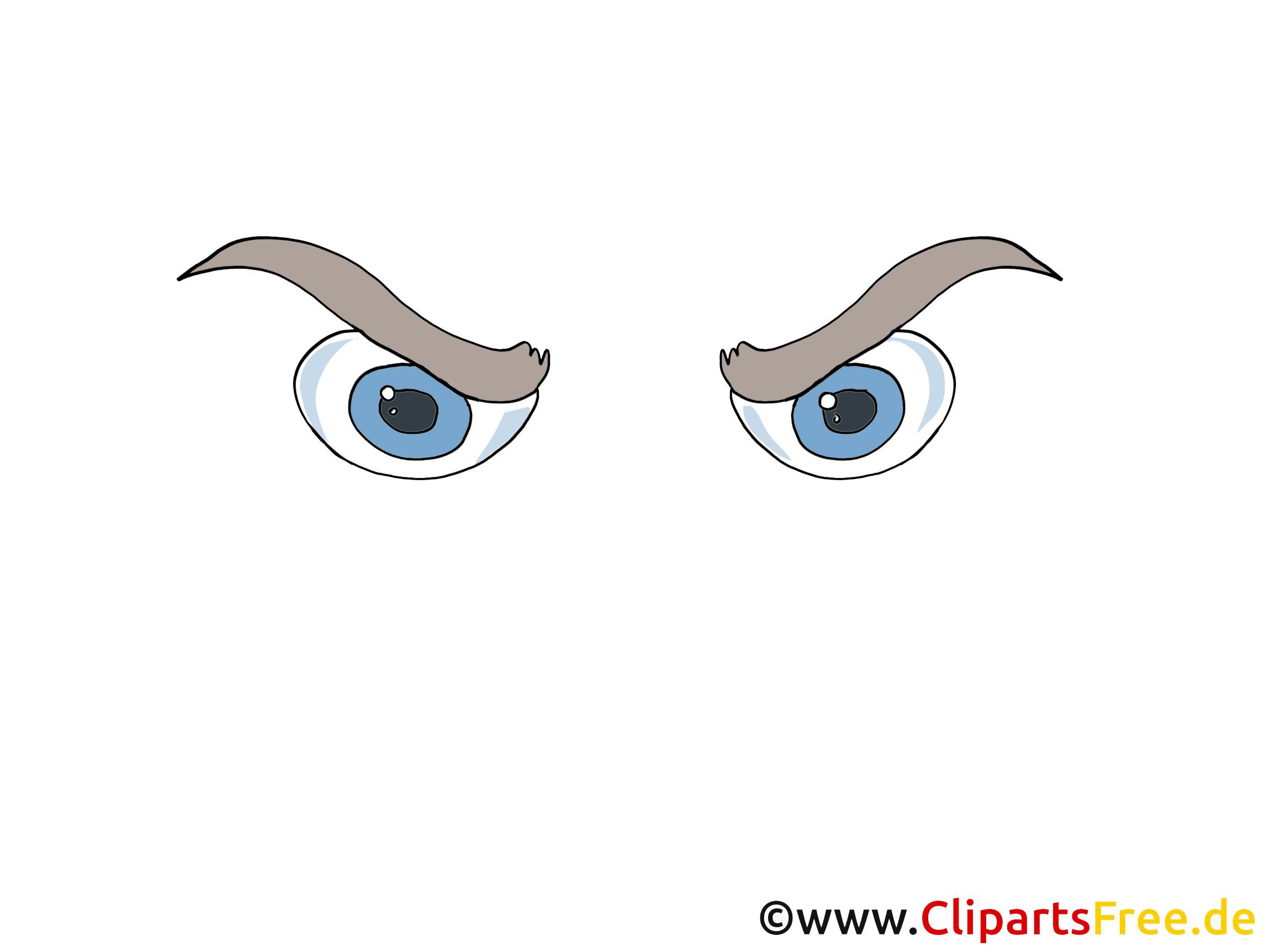 Boese Augen Bild, Zeichnung, Cartoon