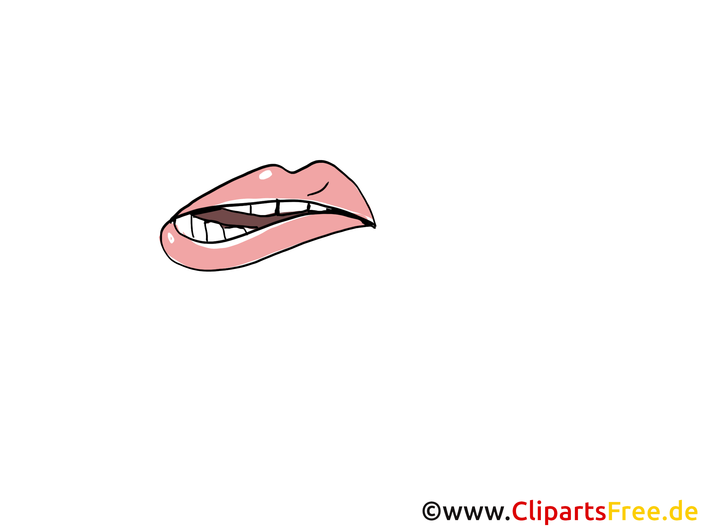 Lippen beissen Bild, Zeichnung, Cartoon