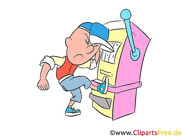 Ärger mit Spielautomat Bild, Clipart, Cartoon, Comic