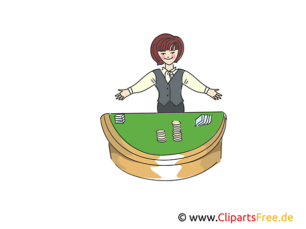 Croupier Frau in Casino Clipart, Bild, Illustration