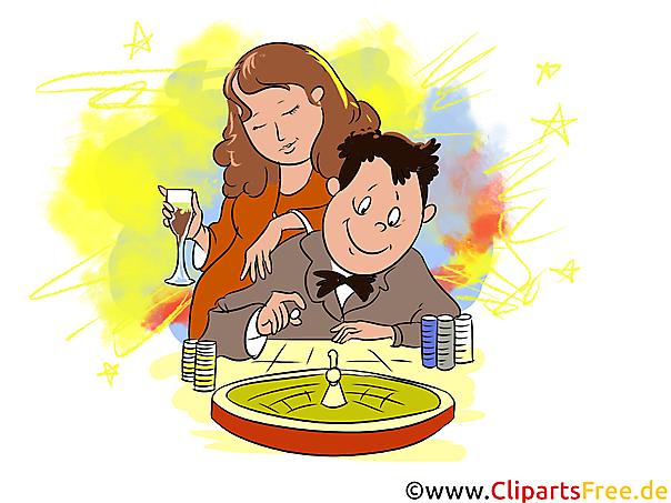 Paar, Mann und Frau spielen in Kasino Roulette Clipart, Illustration, Bild