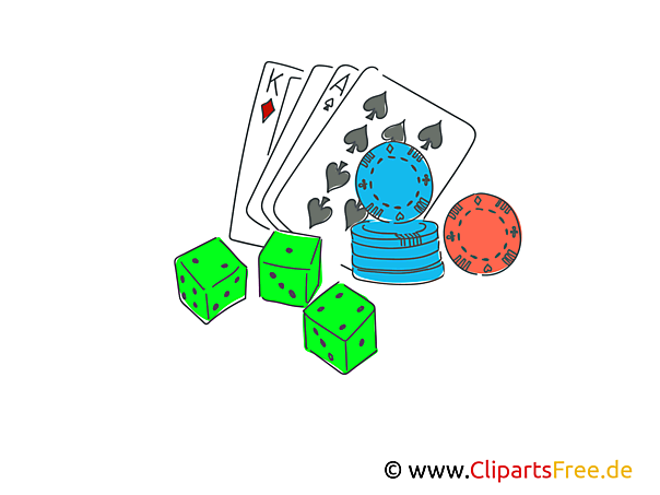 Poker spielen Clipart, Illustration, Bild