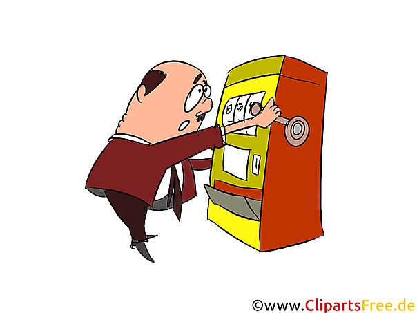 Spielautomaten spielen in Casino Cipart, Illustration, Comic
