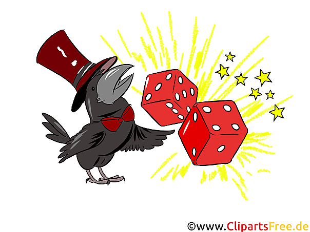 Würfel, Rabe Clipart, Illustration, Bild