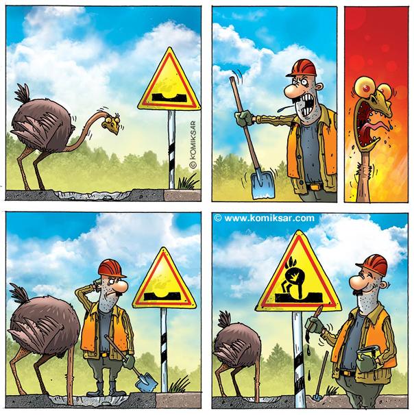 Baustelle schild comic  Comic Strauss auf der Baustelle