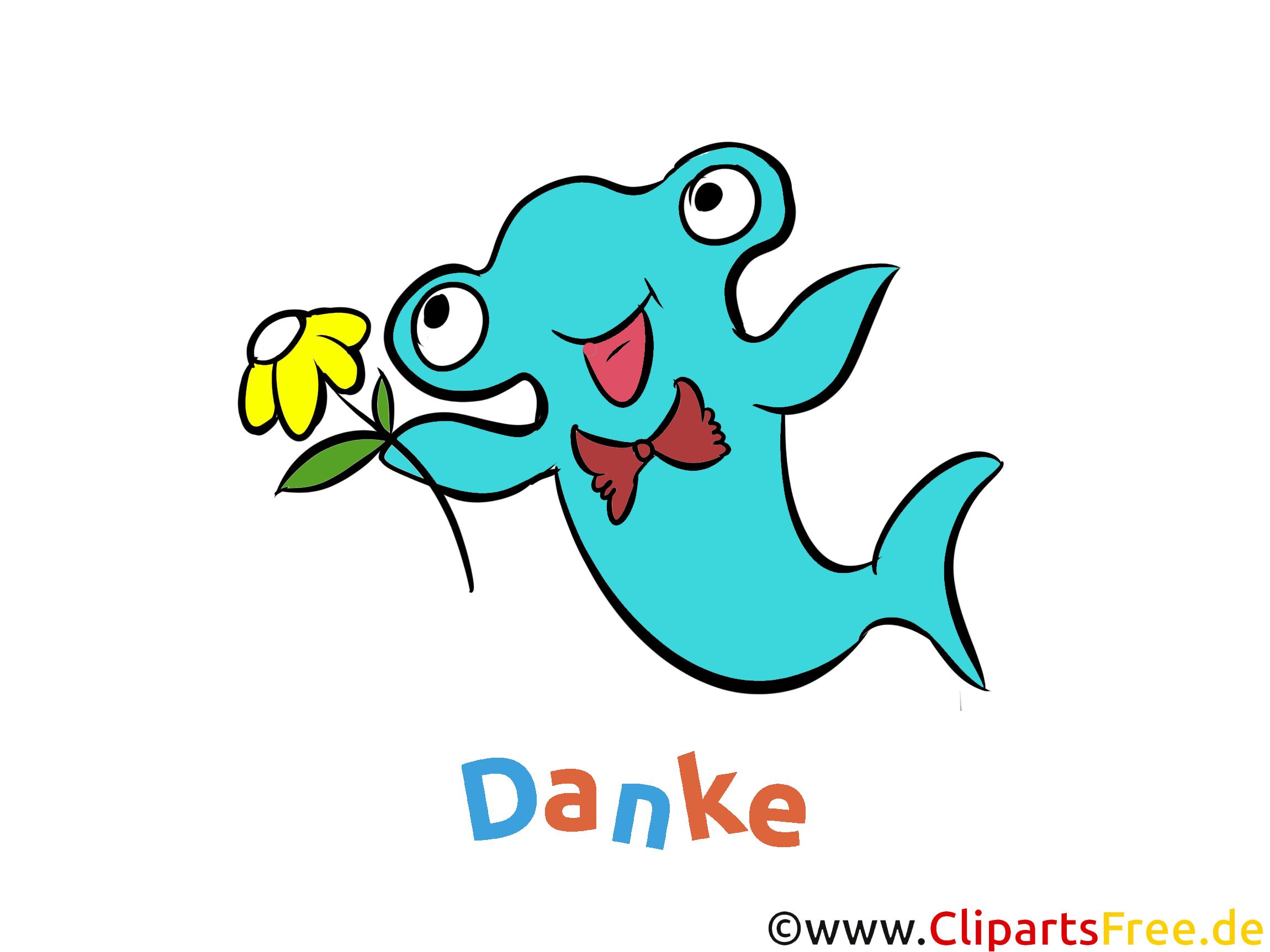 Cartoon Hammer Fisch - Danke Grusskarte