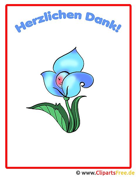 Danke Schön Bild mit blauer Blume