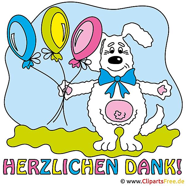 Dankeskarte Hase mit Luftballons Clipart