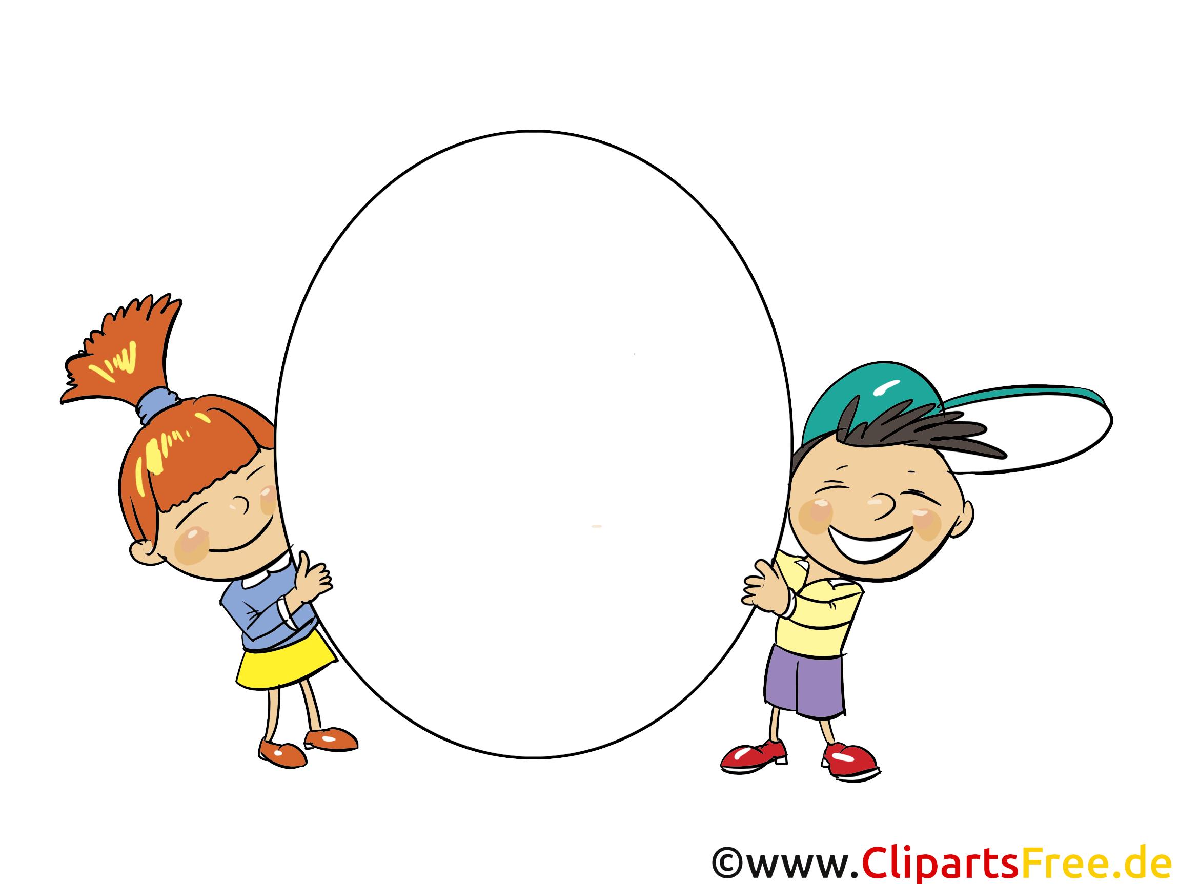Kinder halten einen leeren Schild auf weissem Hintergrund