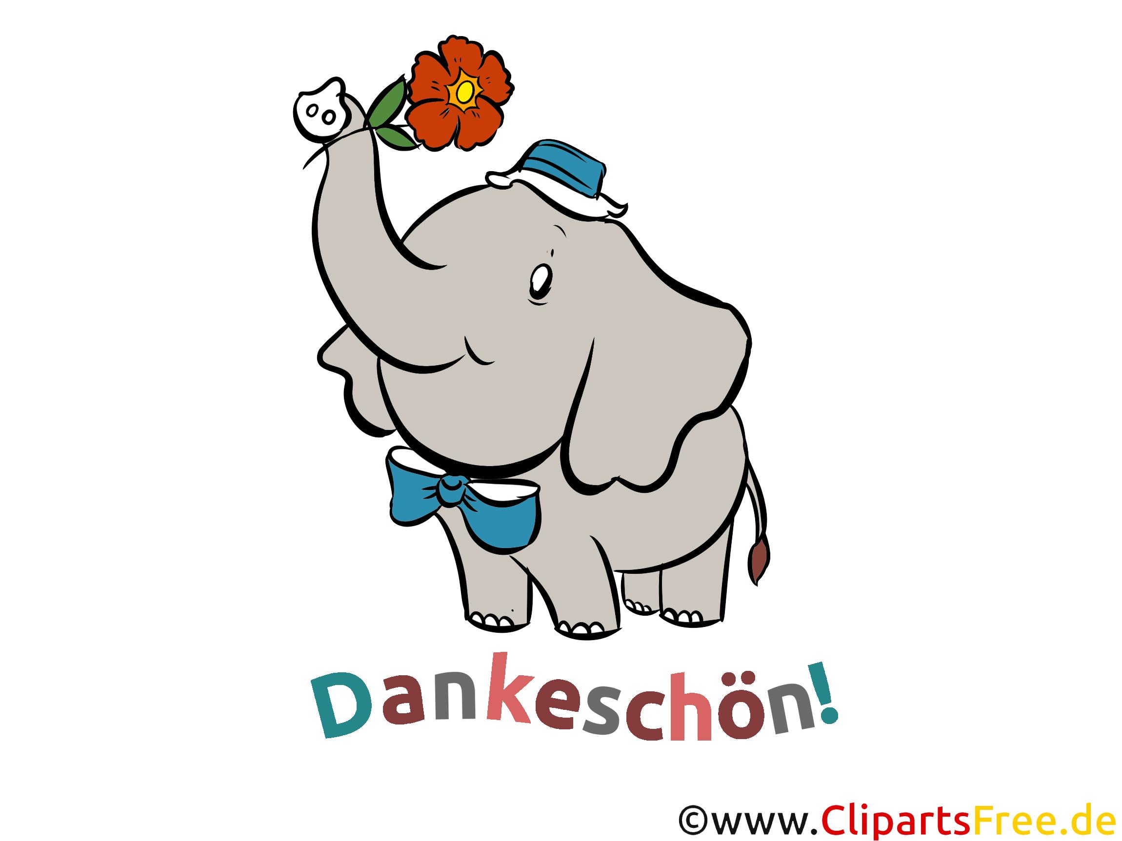 Lustiger Elefant Bild, Clipart - Dankeschön Karte