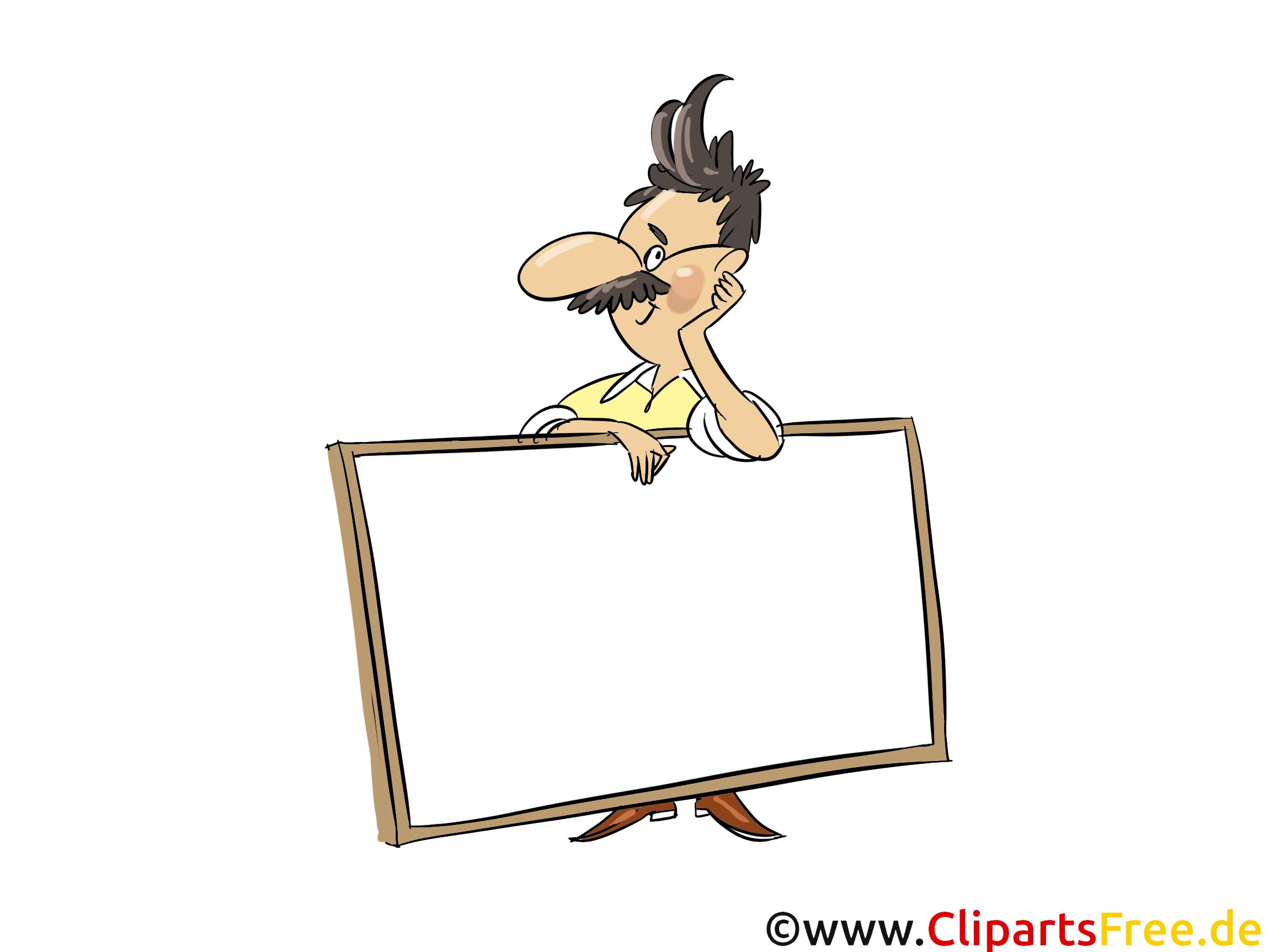 Mann mit leer leere Schild Banner Plakat Business Marketing Zeichen Symbol