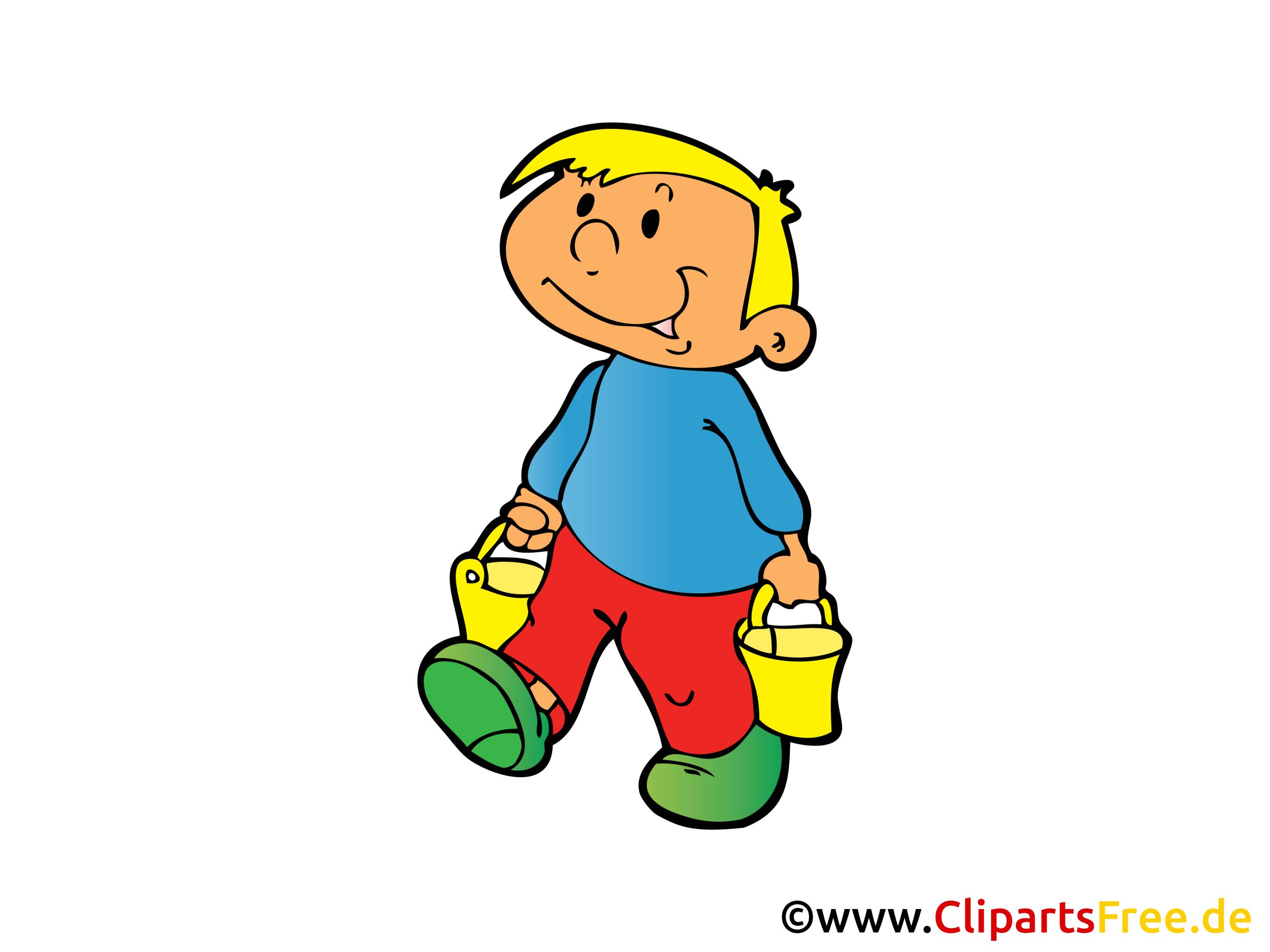 Bauer mit Eimer Bild, Clipart, Illustration, Comic, Cartoon gratis