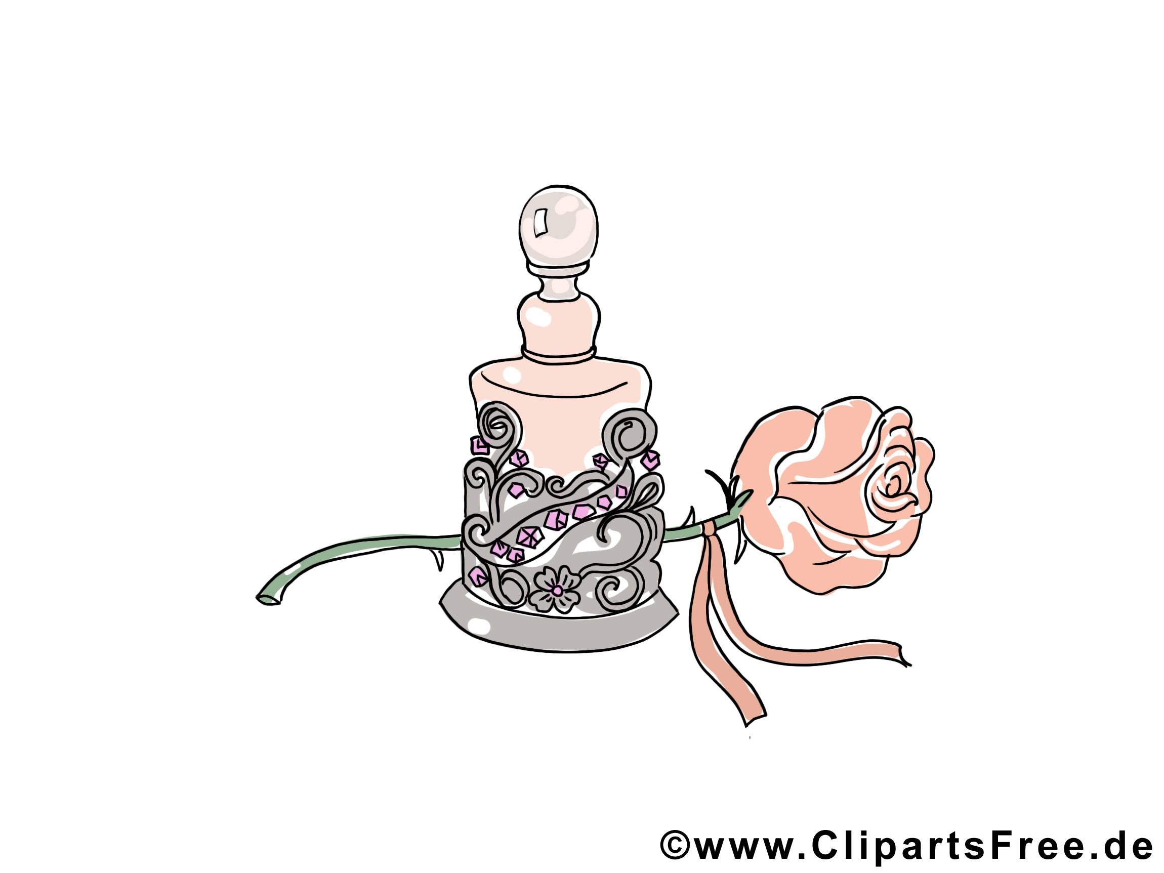 Clipart Parfüm und Rose