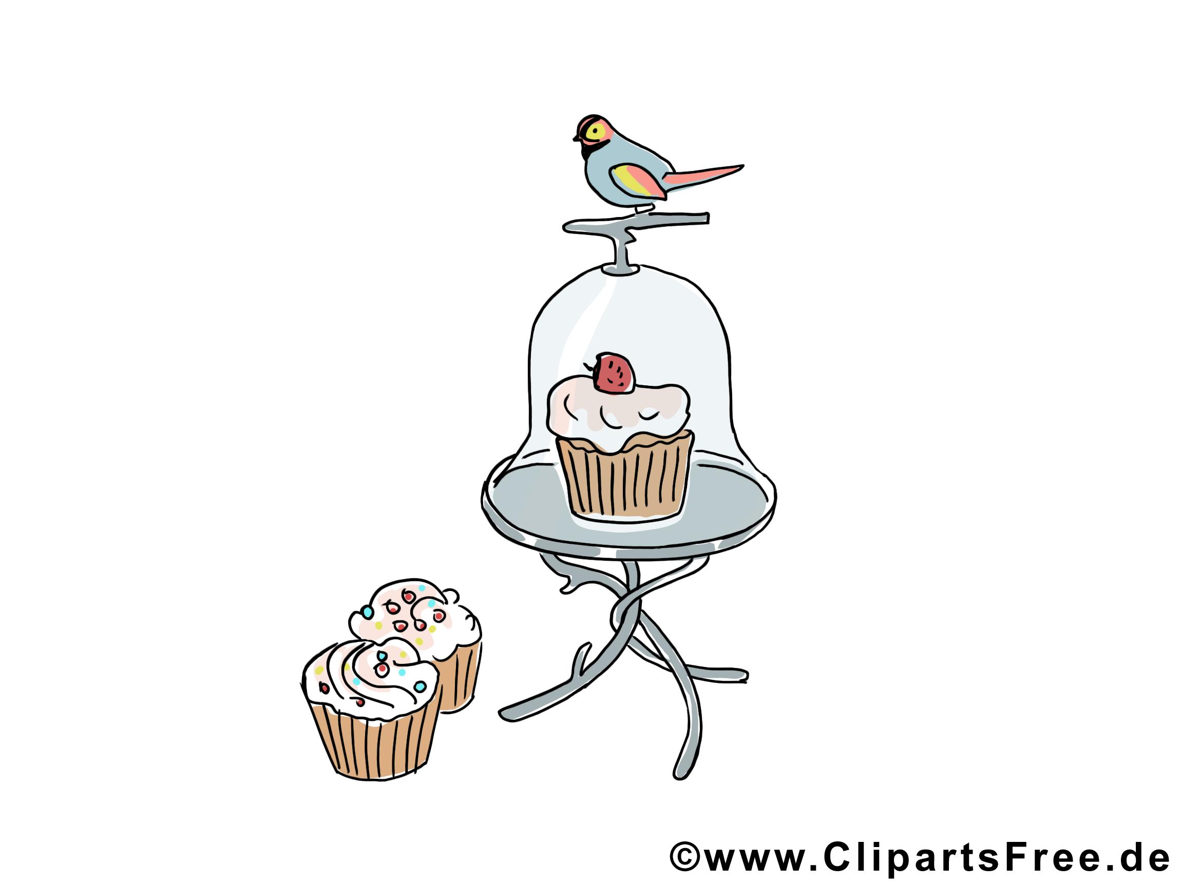 Kuchen Und Vogel Bild Clipart Illustration Grafik Kostenlos