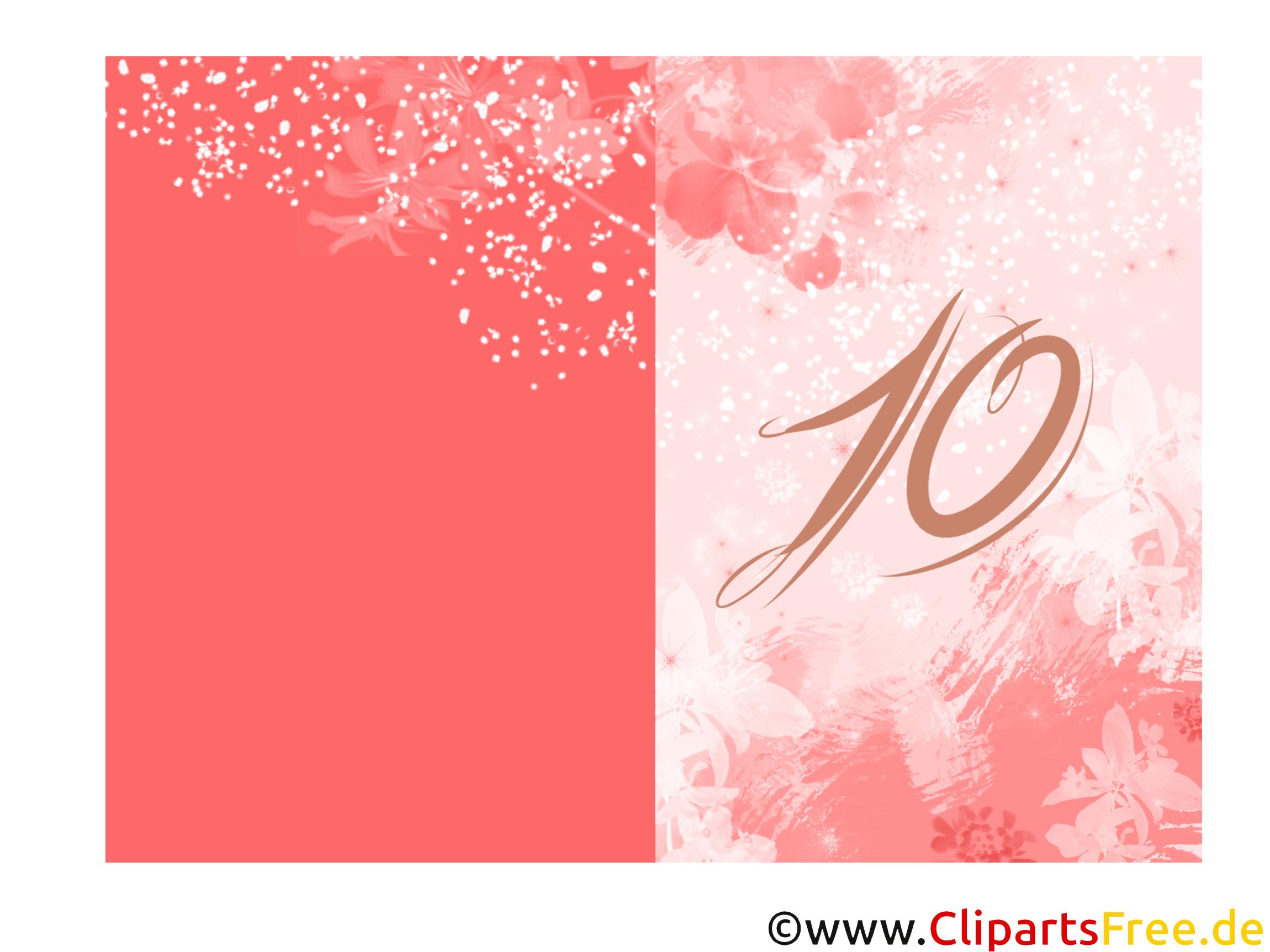 10 Jahre Glückwunschkarte zum Ausdrucken