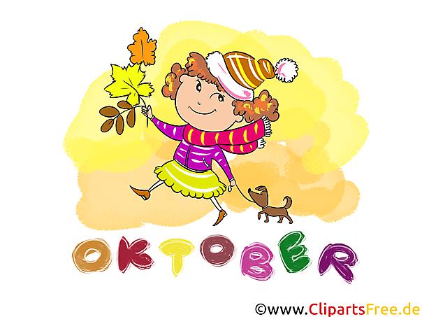 Oktober Clipart - Monate kostenlose Bilder zum Drucken