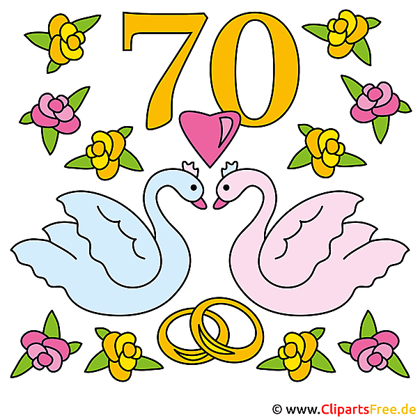 Gnadenhochzeit 70 Jahre zusammen - Clipart Hochzeit