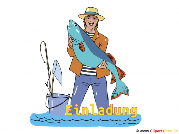 Fischer Clipart - Einladung zum Angeln