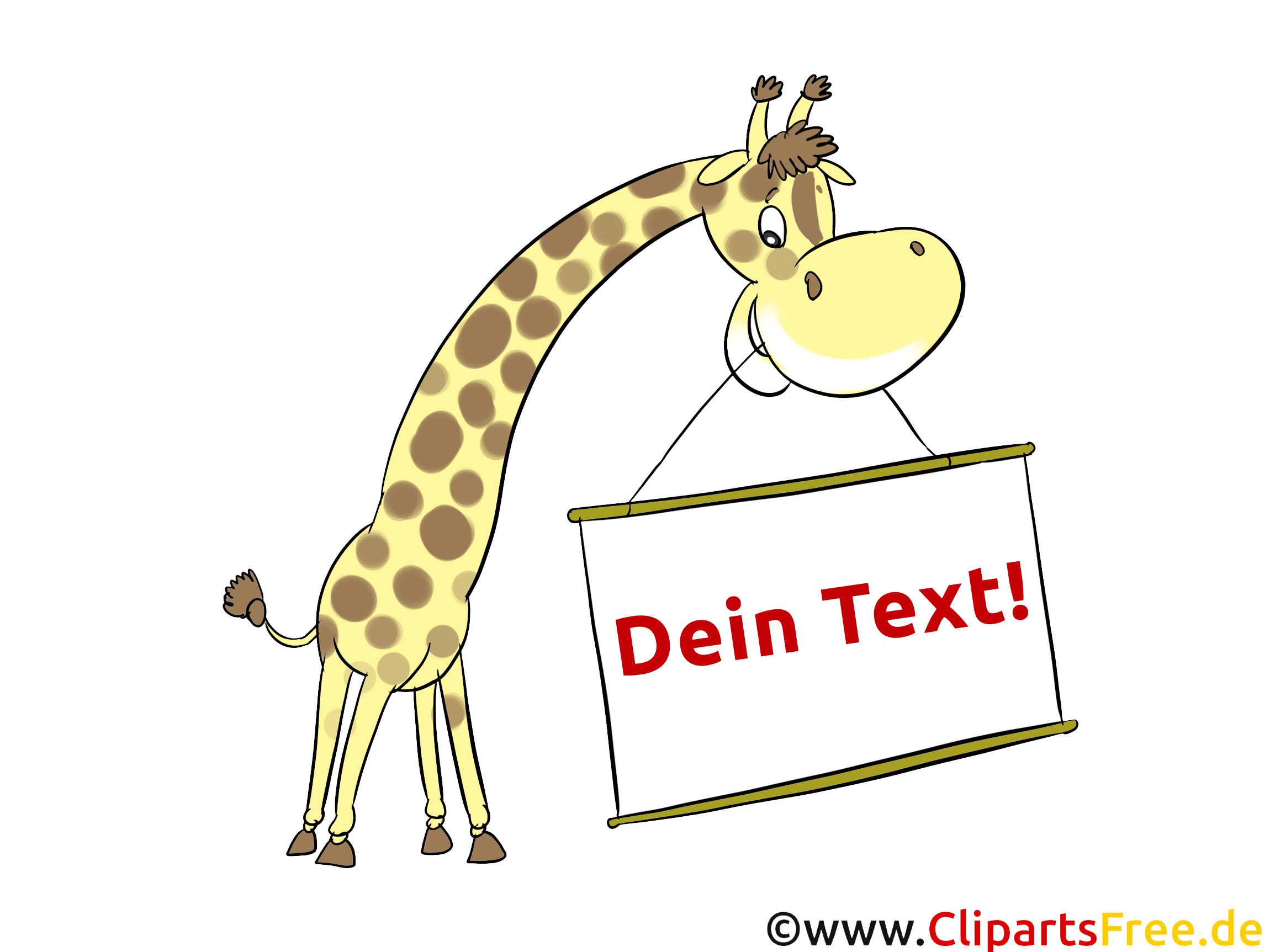 Lustige Giraffe mit Schild, Anzeige zum AUsfüllen, Beschriften