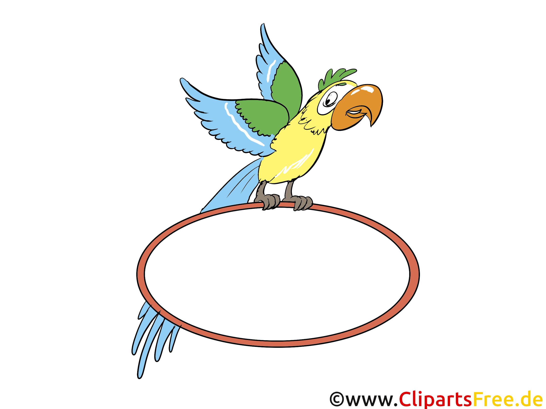 Papagei mit Schild zum Beschriften