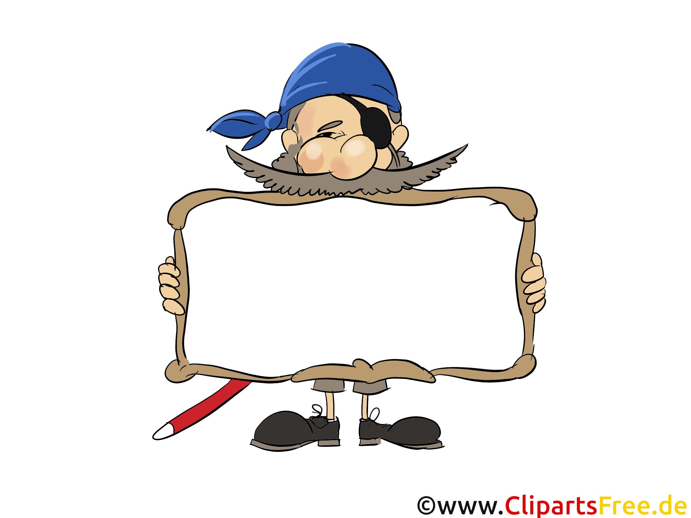 Pirat mit Rahmen zum Beschriften Bild, Clipart, Grafik