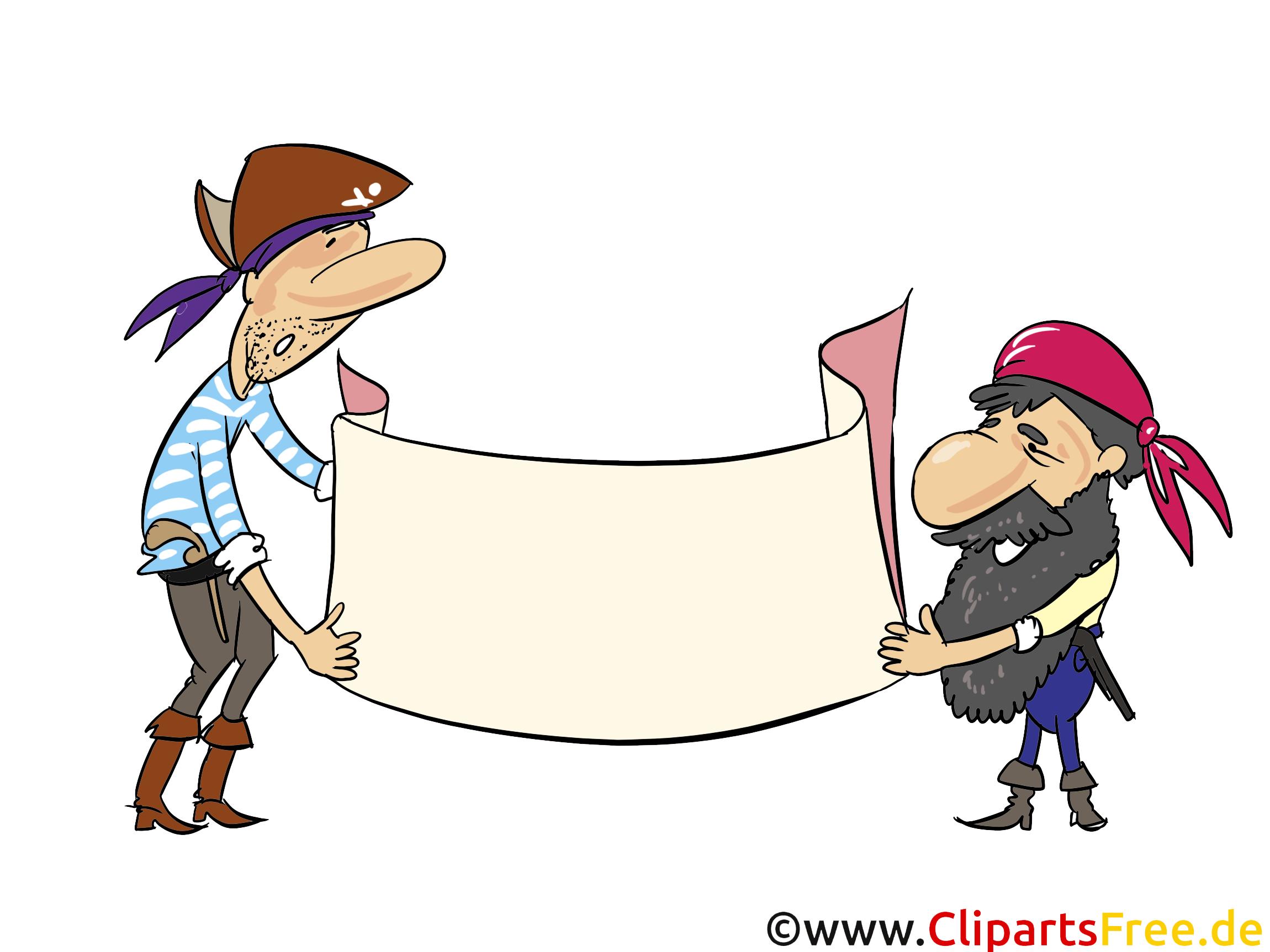Piraten mit einem Banner zum Beschriften Clipart, Grafik, Bild, Illustration