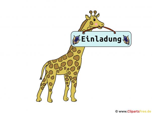Vorlage Einladung mit Giraffe und Schild