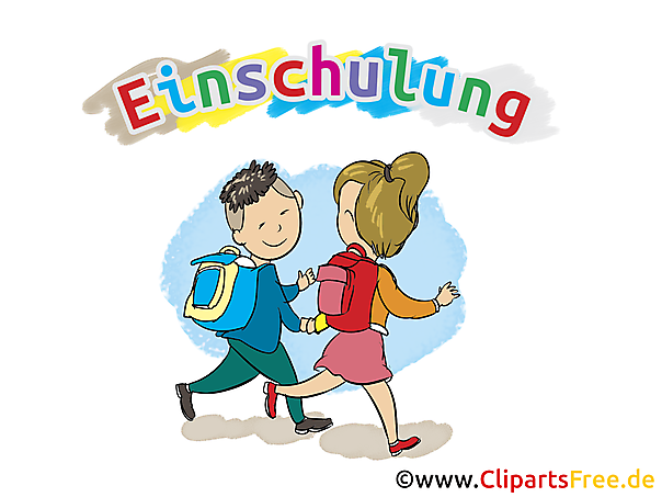 Cartoon kinderen gaan naar school