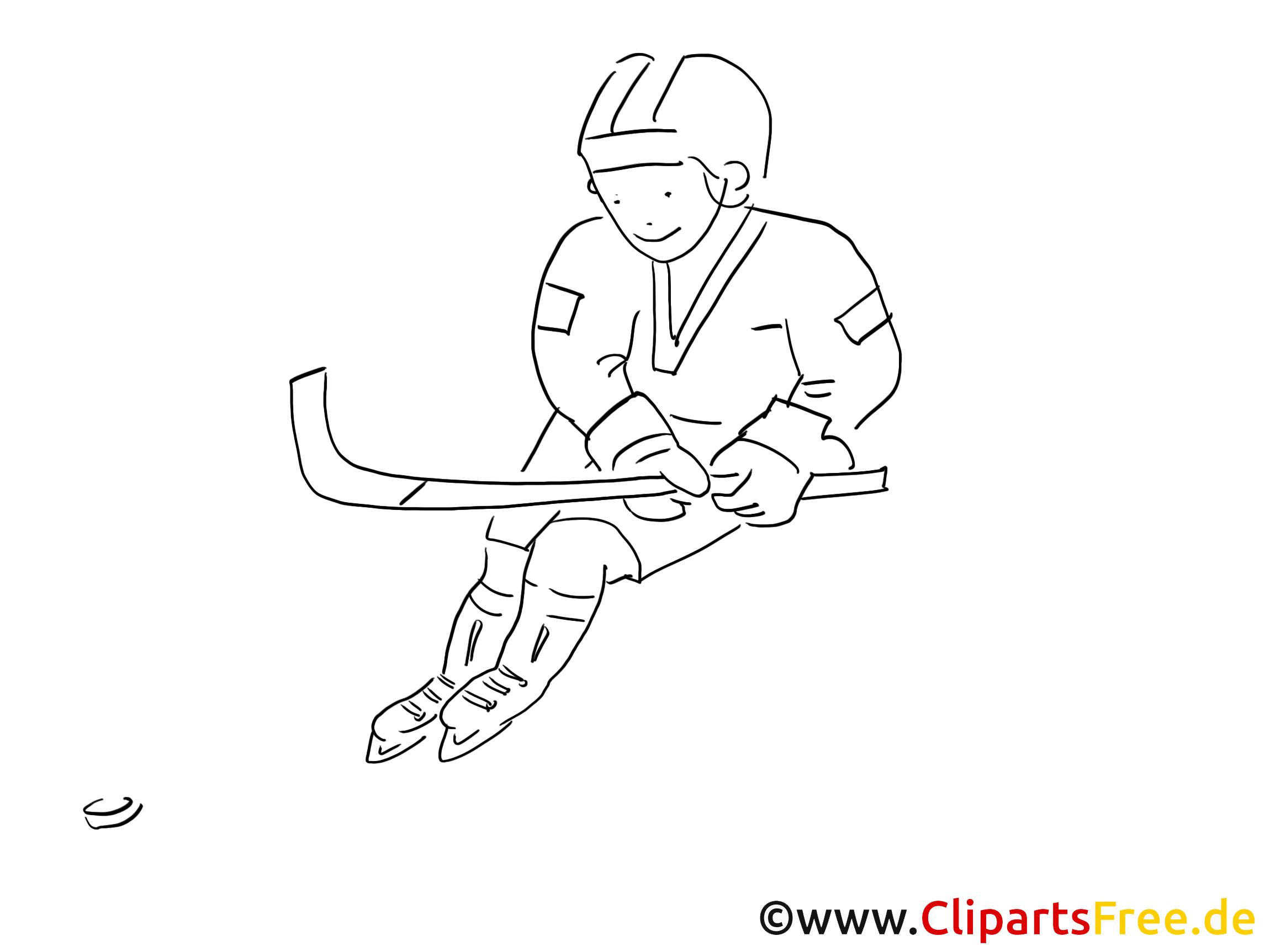 Ausmalbild Eishockey-Spieler zum Ausdrucken und Ausmalen
