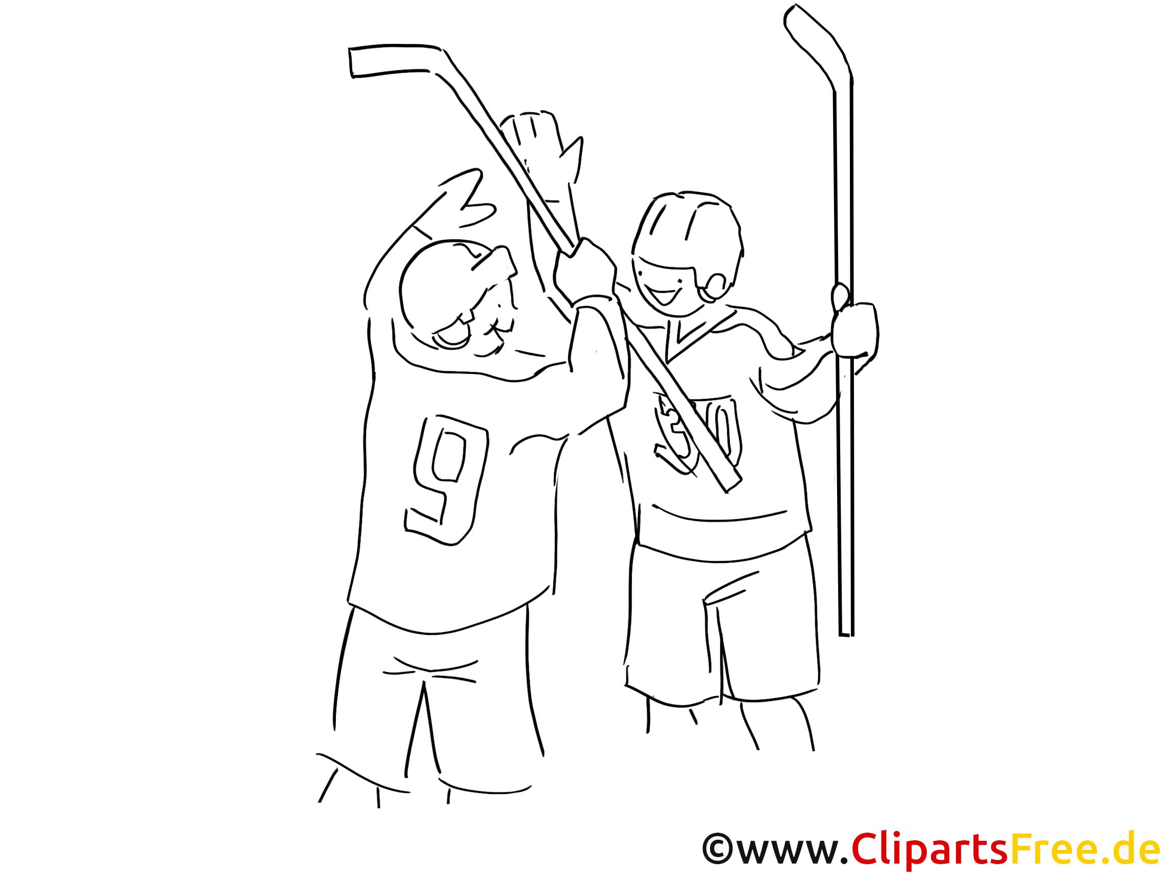 Zwei Eishockeyspieler zum Ausmalen Ausmalbild