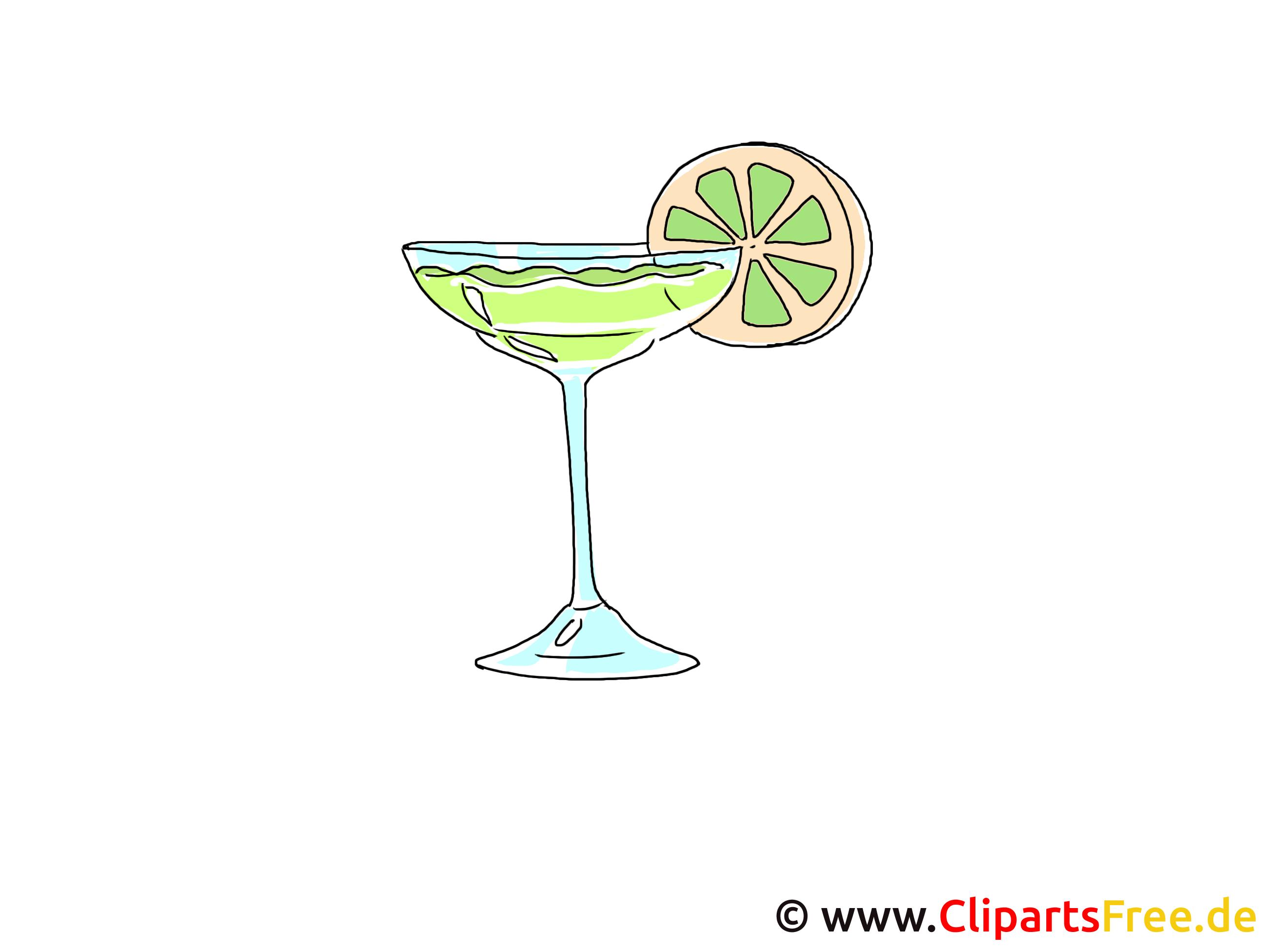 Cocktail met citroen clipart gratis