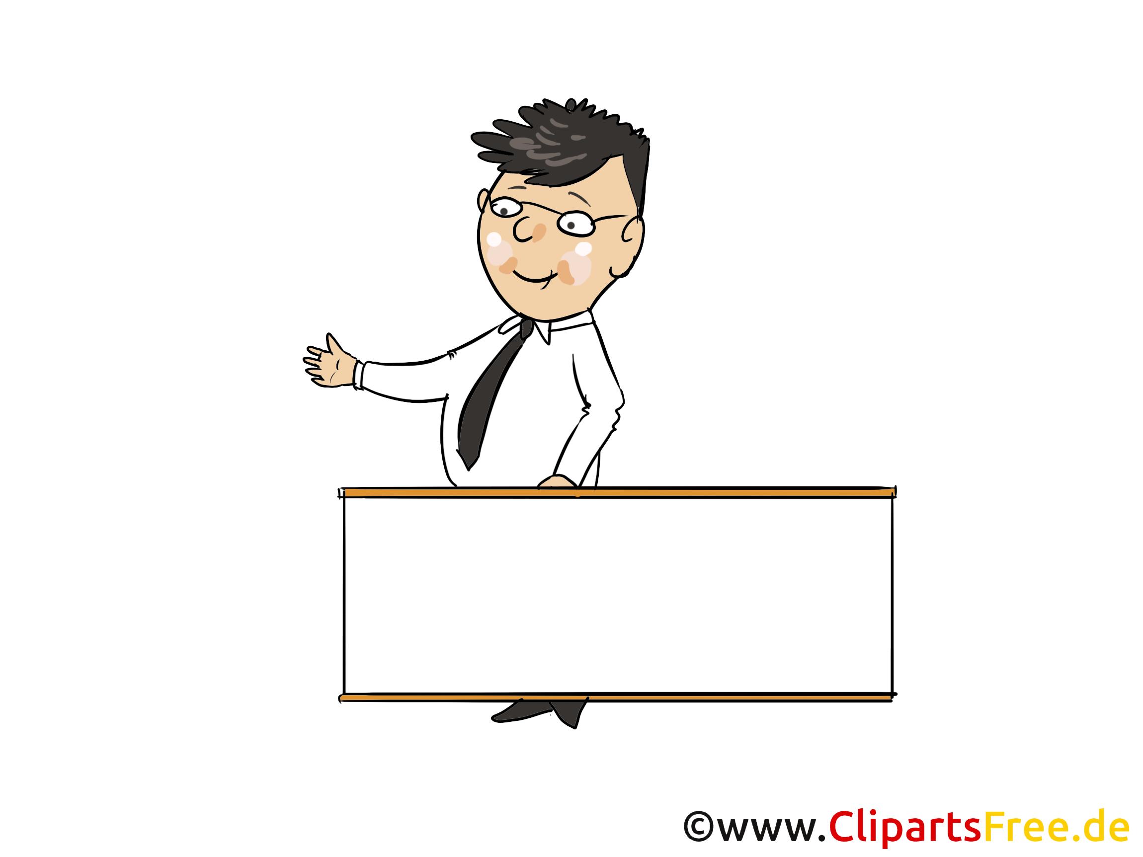 Maennchen mit leerem Plakat Bild, Clipart, Cartoon