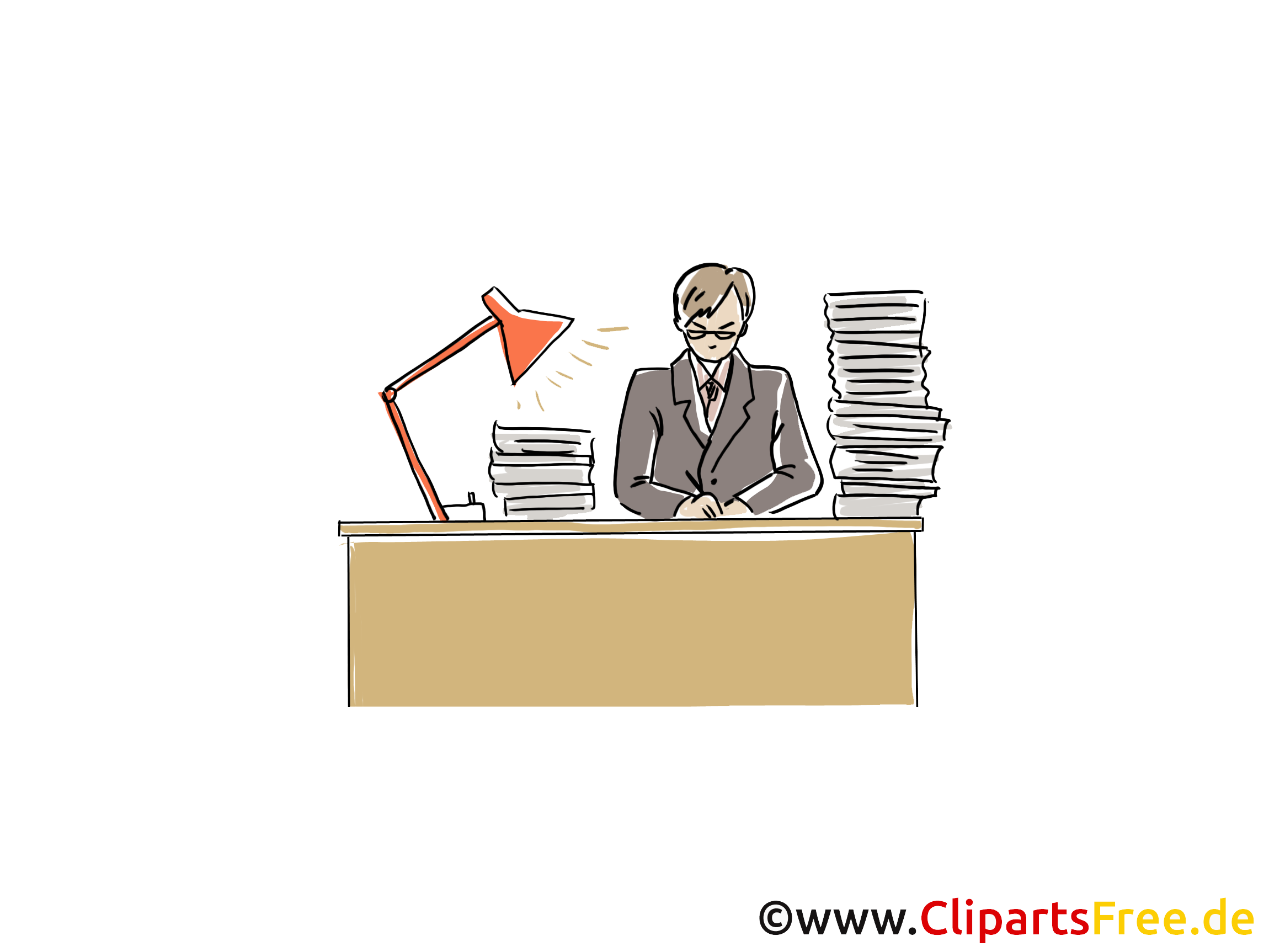 Schreibtisch büro clipart  Mann arbeitet am Schreibtisch Clipart, Grafik