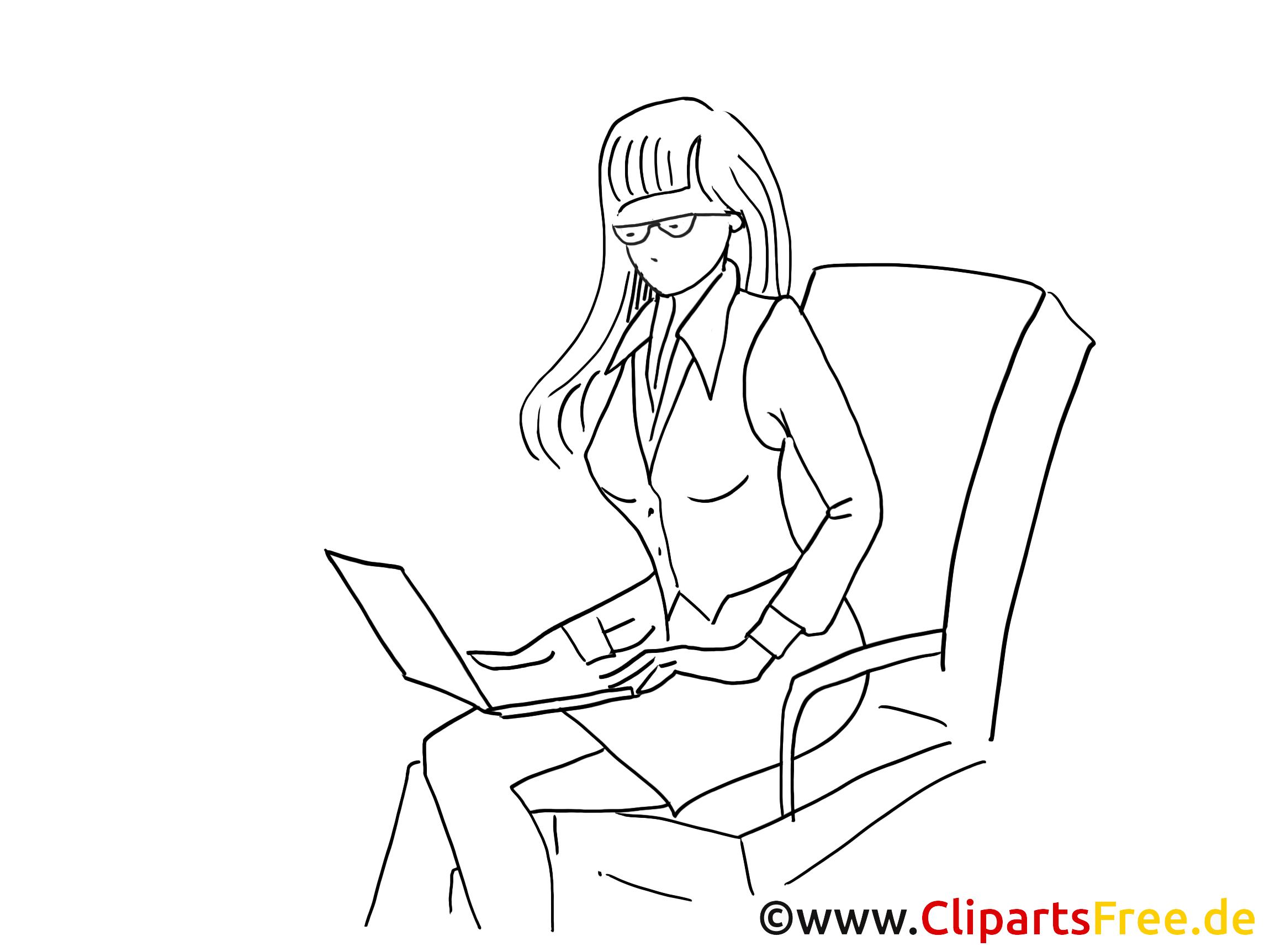 Schöne Frau am Arbeitsplatz Clipart schwarz-weiss