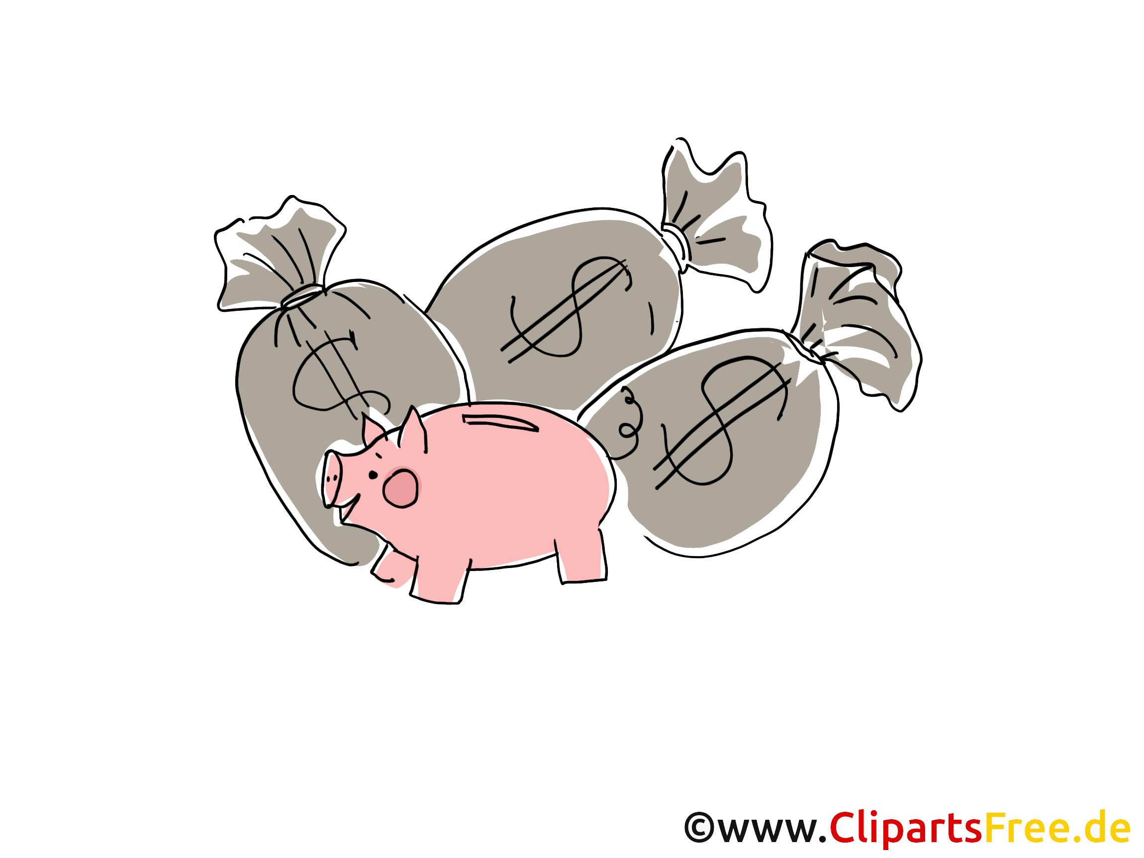 Sparschwein und Säcke mit Geld Clipart, Grafik