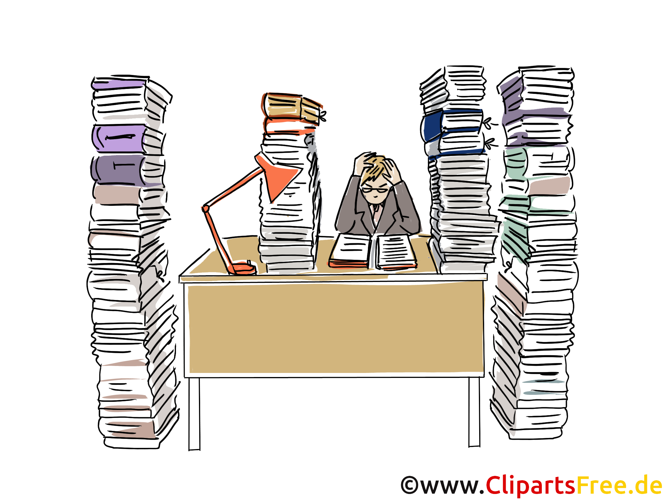 Zu Viel Arbeit Clipart Grafik Bild Cartoon