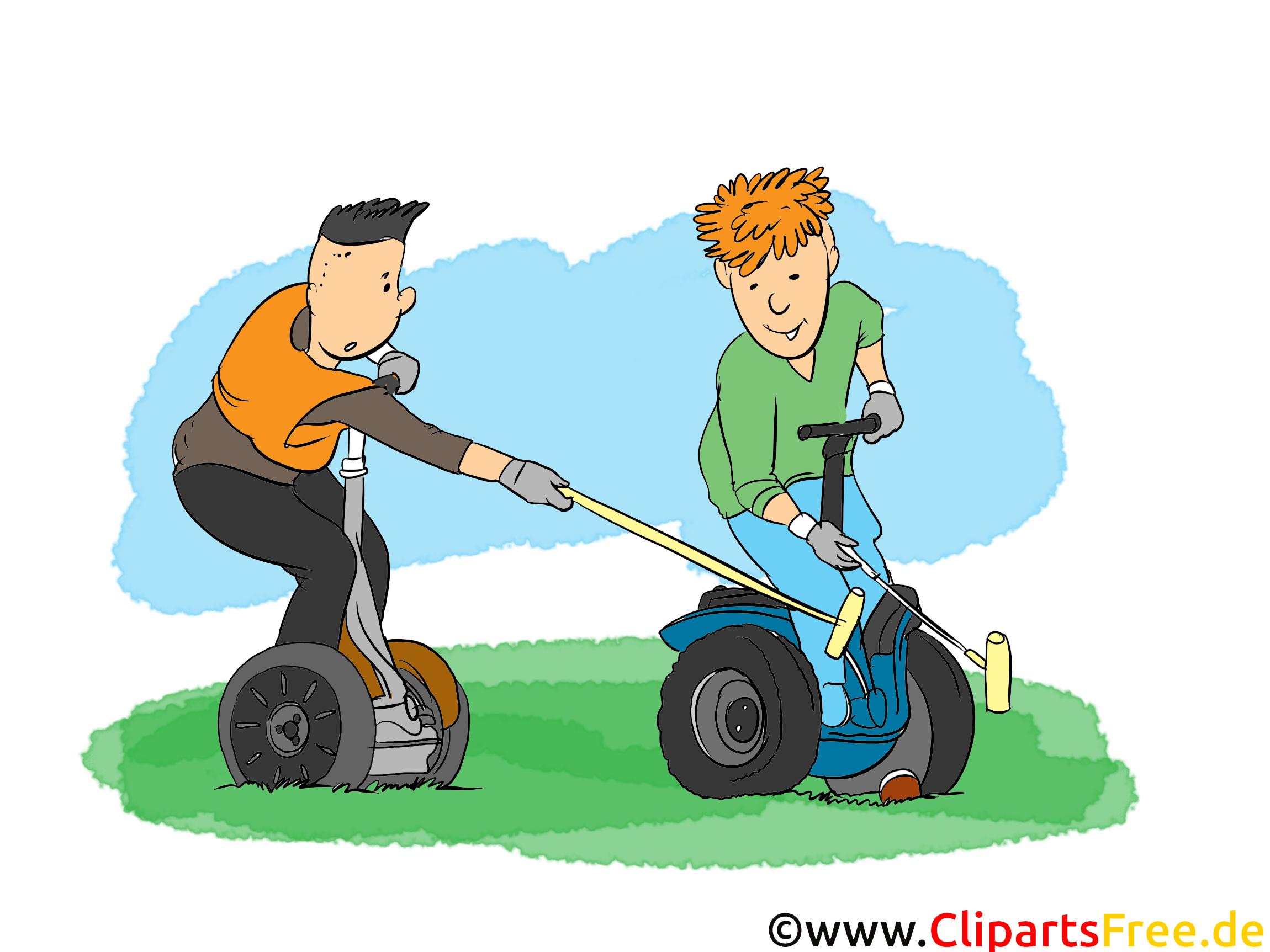 Elektroroller Clipart, Bild, Cartoon, Comic, Illustration