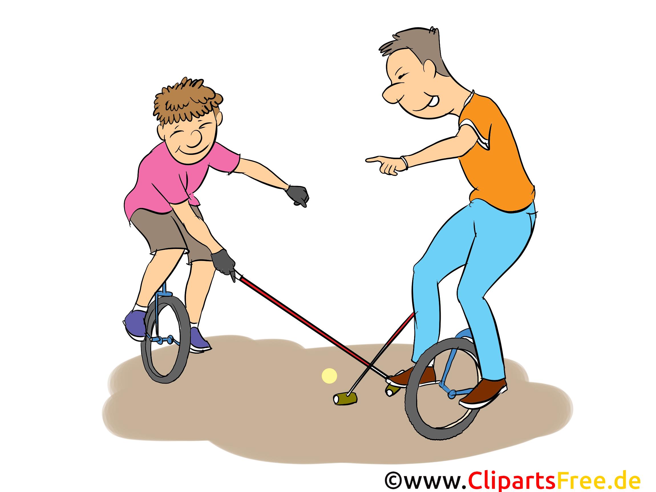 Fahrrad-Polo Cartoon, Clipart, Bild, Comic, Illustration
