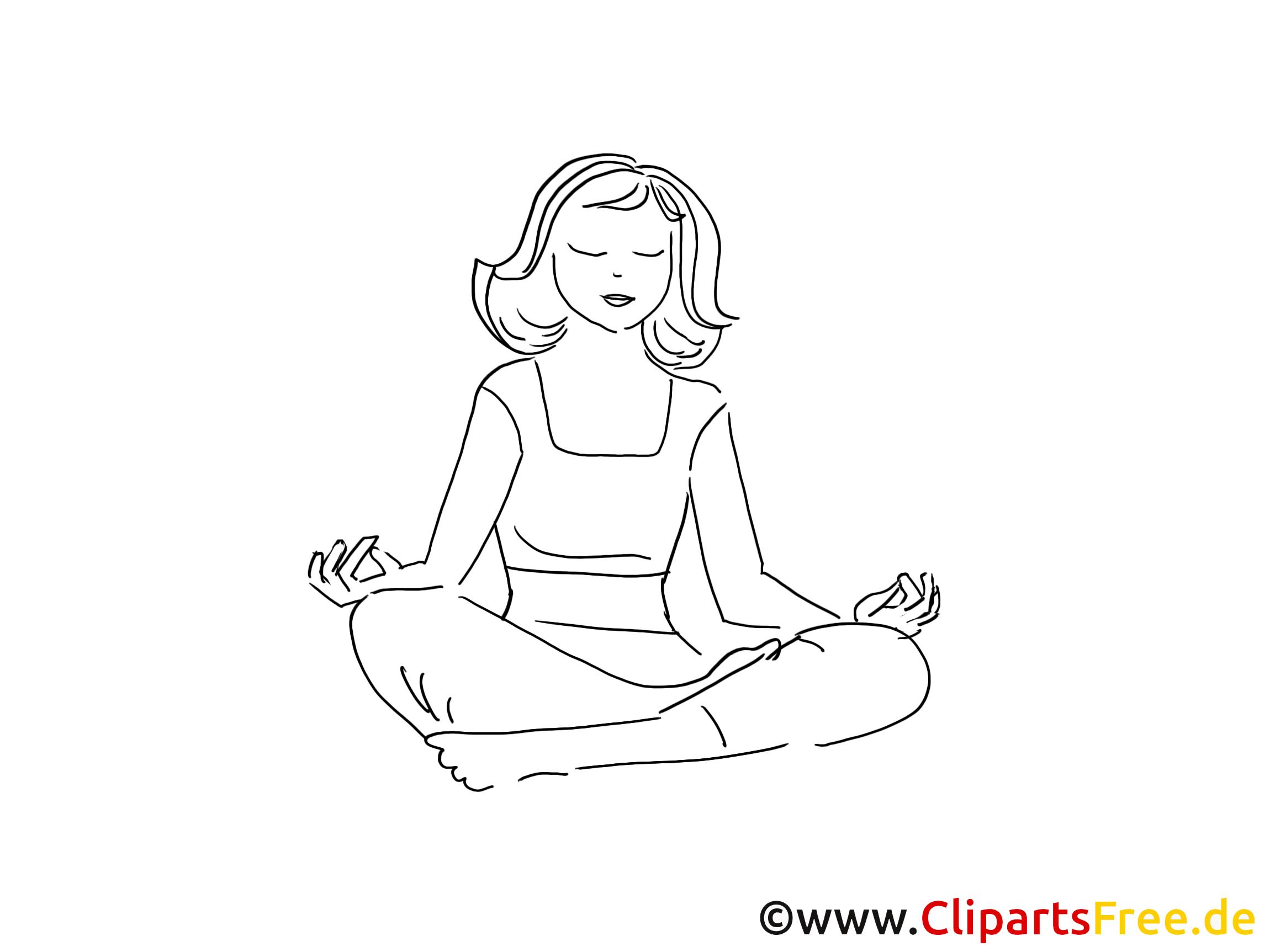 Frau macht Yoga Zeichnung, Clipart, Bild schwarz-weiss, Grafik ...