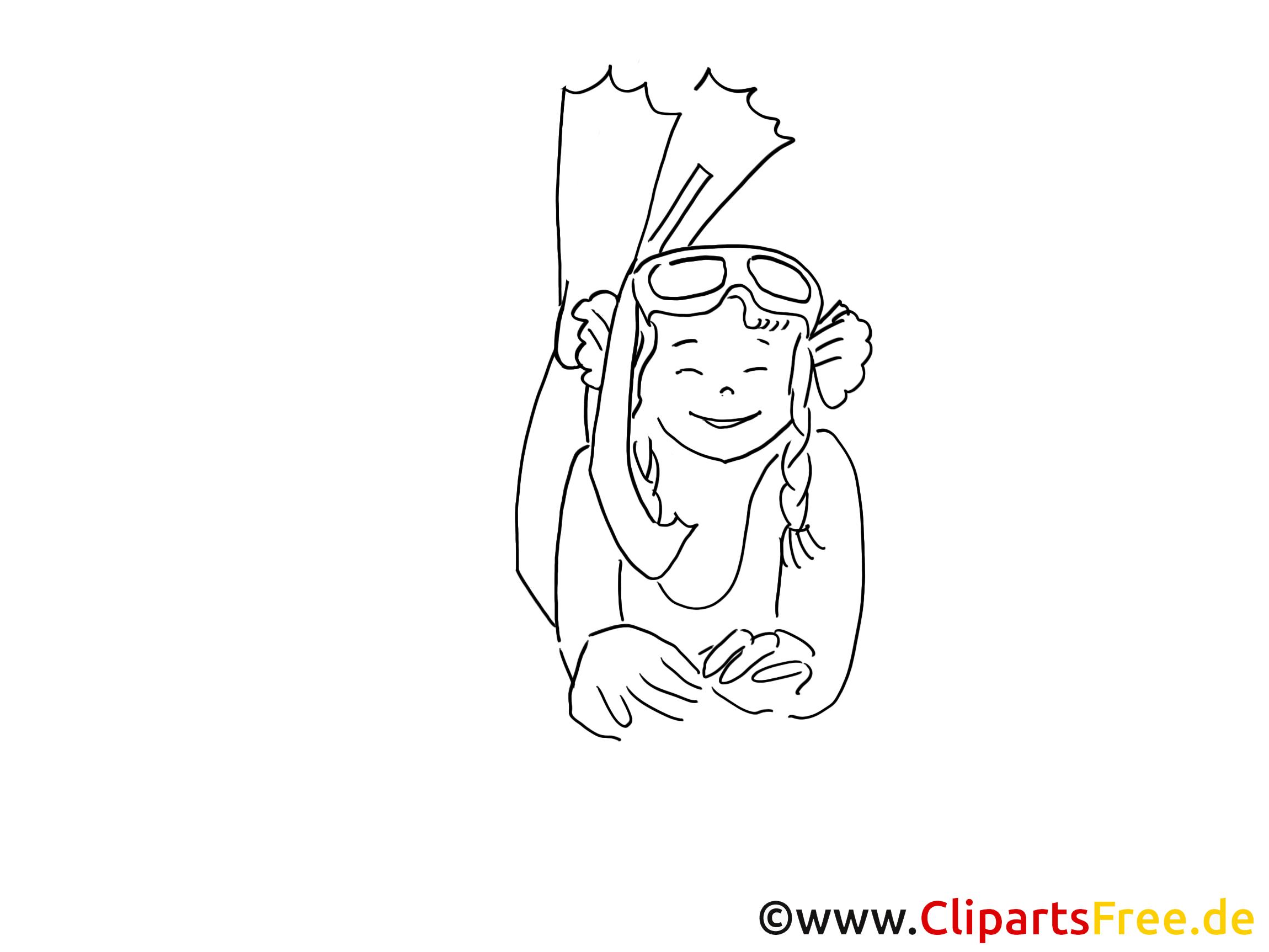 Taucher Bild schwarz-weiss, Grafik, Zeichnung, Comic, Cartoon gratis (9)